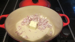 Next sauté the shallots and butter for about five minutes