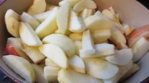 Peel and slice apples