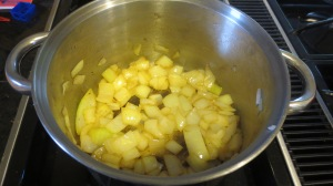 While the squash and apples roast, sauté onion in 1-2 Tablespoons of olive oil for 5- 10 minutes until they turn brown. Be sure to stir frequently so they don't burn to the bottom of the pot.